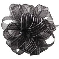 Striped Chiffon - Black & Silver
