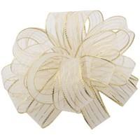 Striped Chiffon - White & Gold